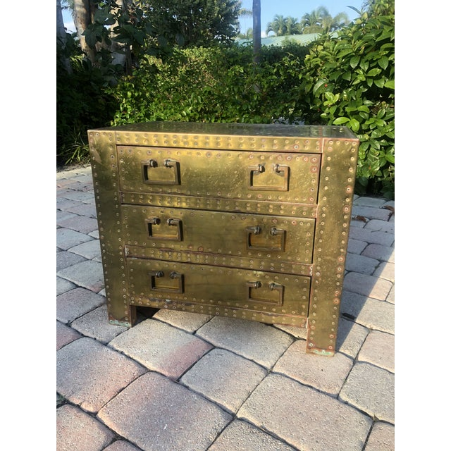 Metal Sarreid Brass Clad Three Drawer Chest of Drawers For Sale - Image 7 of 13