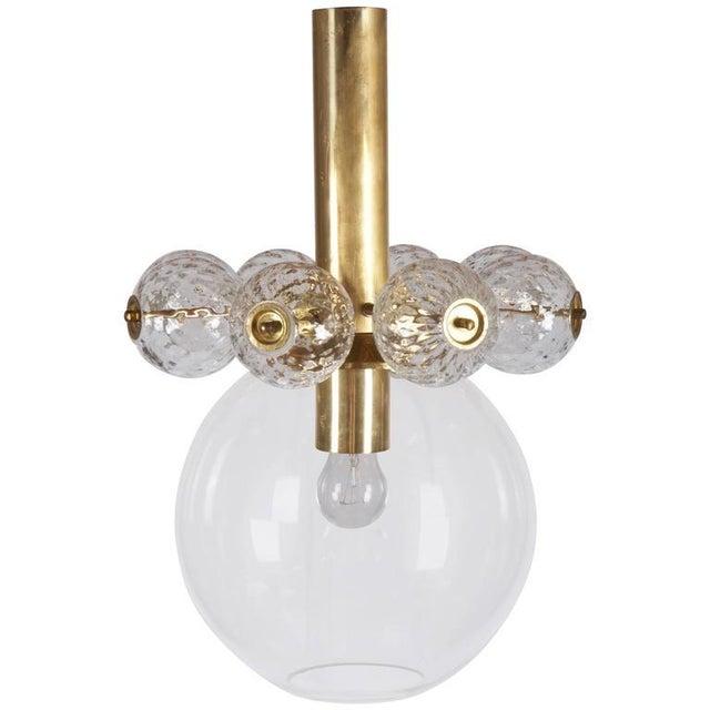 Kamenicky Senov Novy Bor Brass & Glass Hanging Lamp by Kamenicky Senov For Sale - Image 4 of 4