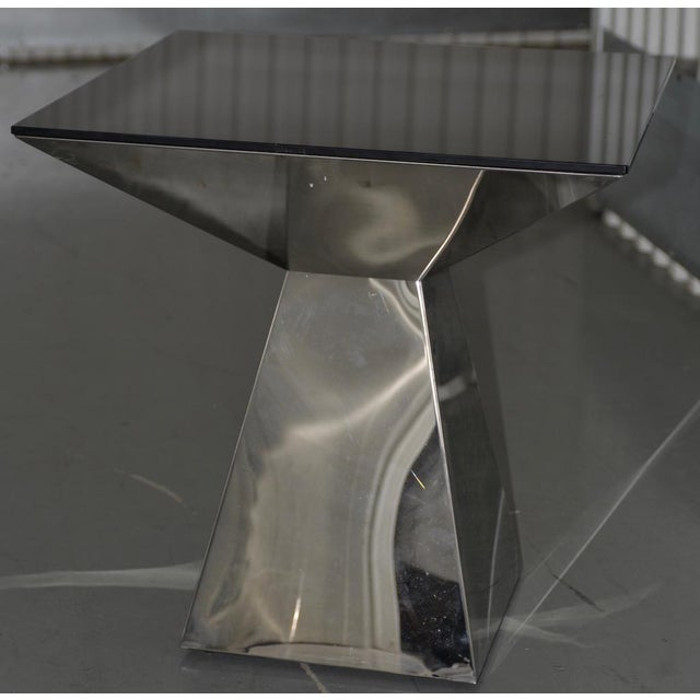 1970s Geometric Chrome & Smokey Glass Top Side Table For Sale - Image 4 of 4