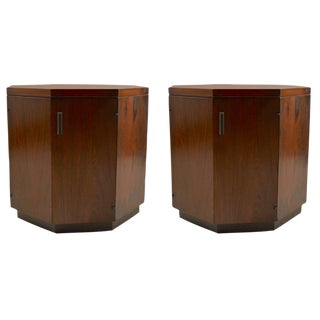 Pair of Rosewood Octagonal Stands by Probber For Sale