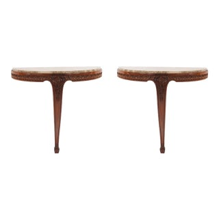 Pair of French Art Nouveau Mahogany Bracket Console Tables For Sale