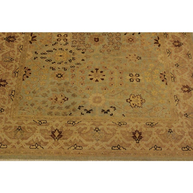 2000s Istanbul Lakh Lt. Blue/Lt. Tan Turkish Hand-Knotted Rug -4'3 X 6'1 For Sale - Image 5 of 8