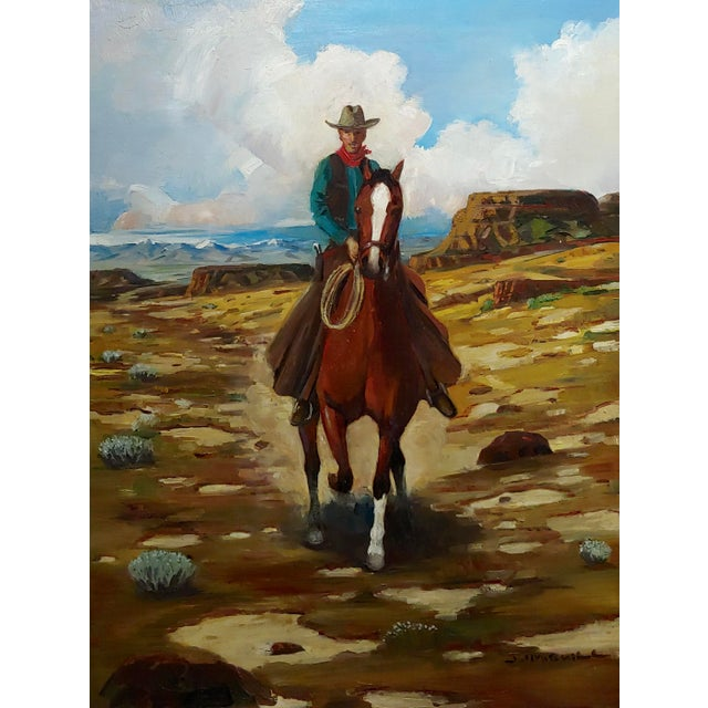 "Illustration Arthur Roy Mitchell ""Cowboy on Horseback in Desert Landscape"" Oil Painting For Sale - Image 3 of 8"