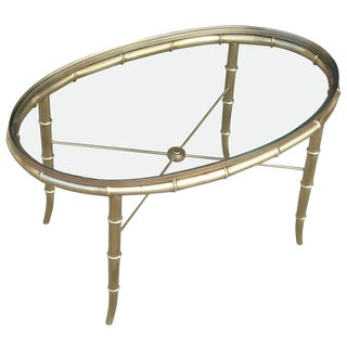 1970s Hollywood Regency Mastercraft Oval Faux Bamboo Glass & Brass Cocktail Table For Sale