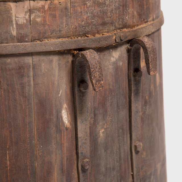 Metal Provincial Chinese Water Barrel For Sale - Image 7 of 8