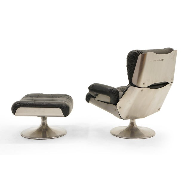 Eames French Black Vinyl and Cast Aluminum Lounge Swivel Chair & Ottoman For Sale - Image 4 of 9