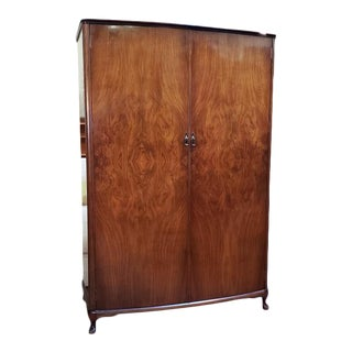 Beautiful Burl Walnut Double Door Armoire C.1940s For Sale