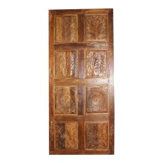 Antique Artisan Hand Carved Barn Door For Sale