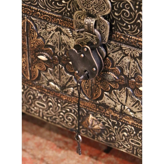 Gothic 18th Century Spanish Gothic Repousse Silver and Gilt Copper Bombe Treasure Chest For Sale - Image 3 of 13