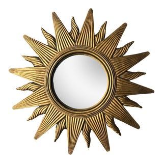 Convex Starburst Gold Resin Mirror For Sale
