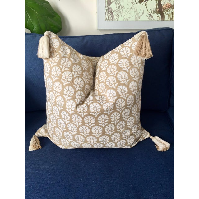 Madeline Weinrib Custom Madeline Weinrib Floral Block Print Throw Pillow With Two-Tone Tassels For Sale - Image 4 of 4