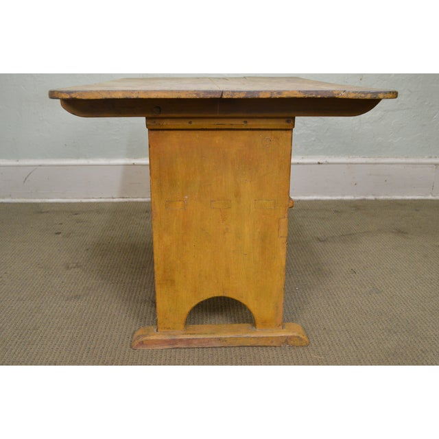 Yellow Antique Primitive Yellow Painted Pine Hutch Table Bench For Sale - Image 8 of 11