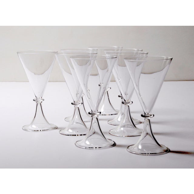Art Deco Set of Eight Modernist Champagne Goblets For Sale - Image 3 of 4