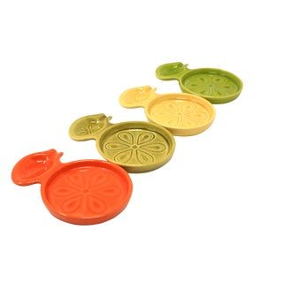 "Vintage MCM Mid Century Ceramic ""Orange Slice"" Coasters With Spoon Rests - Set of 4 For Sale"