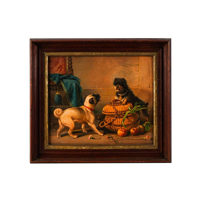 Early 20th Century Antique Watercolor Painting of Dogs For Sale - Image 5 of 5
