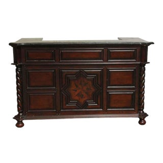 Late 20th Century Salvaged Wood & Marble Carved Small Bar For Sale