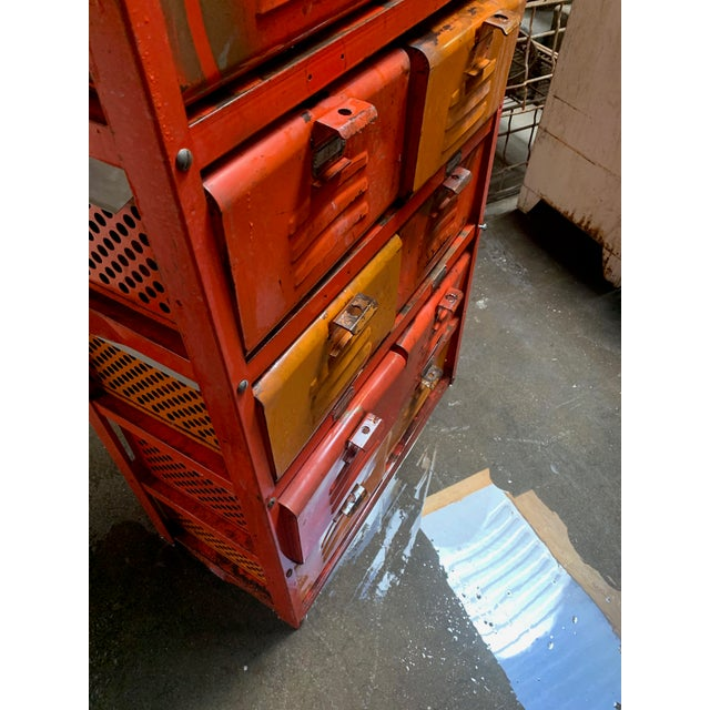 Vintage Industrial Orange 10-Basket Metal Locker Storage For Sale In Sacramento - Image 6 of 13