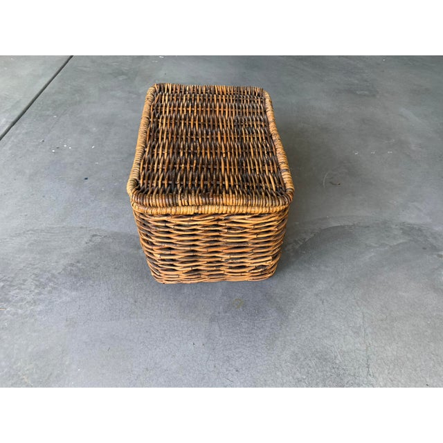 Traditional Pottery Barn Woven Rattan and Wicker Lidded Basket For Sale - Image 3 of 7