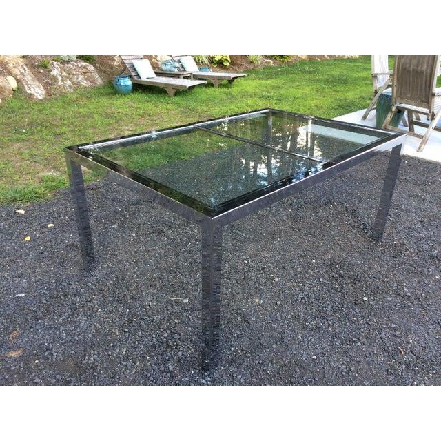Milo Baughman Chrome& Glass Dining Table - Image 4 of 8