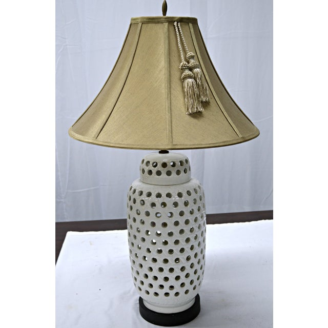 Mid-Century White Perforated Porcelain Table Lamp For Sale - Image 9 of 9
