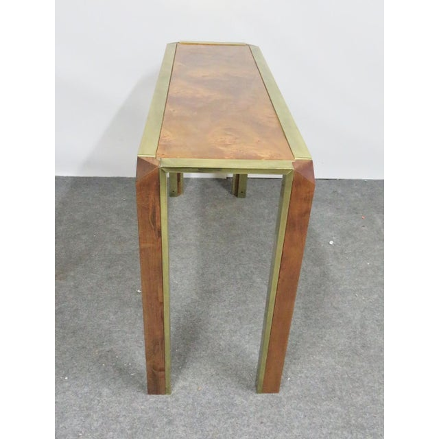 Mid-Century Pace Burl & Brass Console Table For Sale - Image 4 of 7