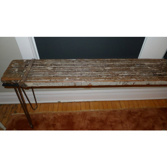 Sofa Table, Console and Entryway Table from industrial painter's scaffold on steel hairpin legs. Width of scaffold/table...