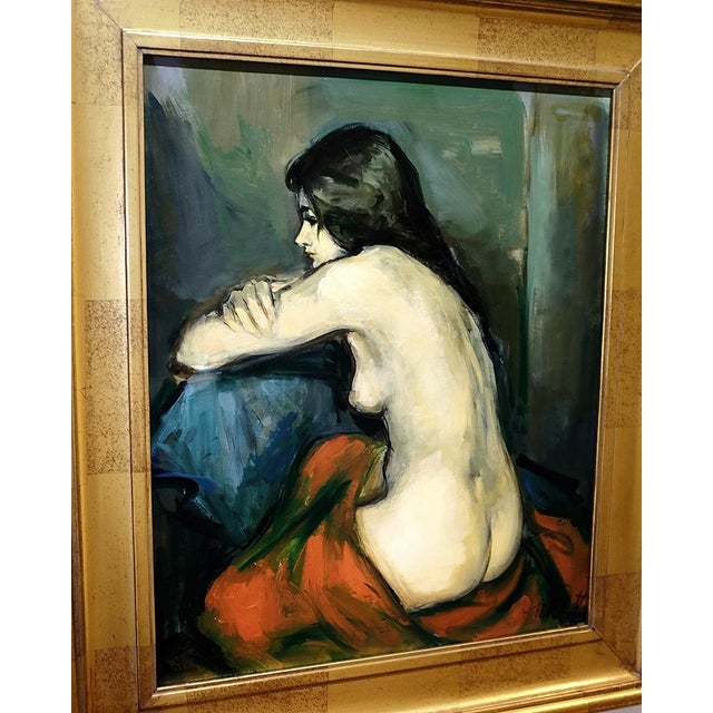 Figurative 20th Century Figurative Nude Portrait Oil on Canvas by Jan De Ruth For Sale - Image 3 of 9