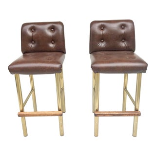Hollywood Regency Brown Leatherette Brass and Wood Barstools - a Pair For Sale