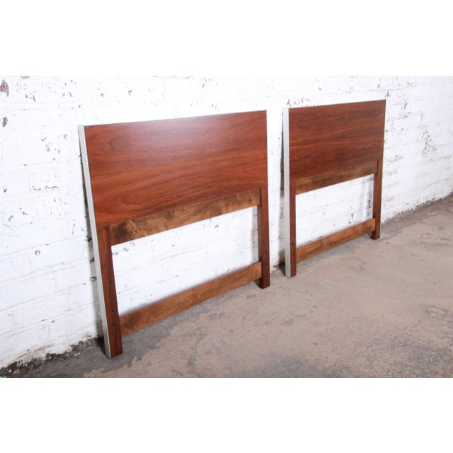 Contemporary Paul McCobb for Calvin Mid-Century Modern Walnut Twin Headboards - a Pair For Sale - Image 3 of 8
