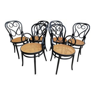 Salvatore Leone Bentwood Thonet Ebony Cane Parlor Cane Chairs - Set of 6 For Sale