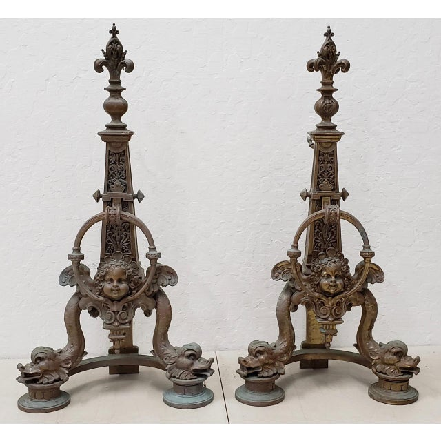 Late 19th Century French Baroque Bronze Chenets / Andirons - a Pair For Sale - Image 12 of 12