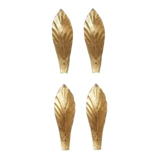 Gold Leaf Murano Wall Sconces in Moulded Leaf Design. 2 Pairs - Total of 4 Pieces. For Sale