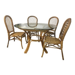 Vintage Rattan Bamboo Round Glass Dining Set
