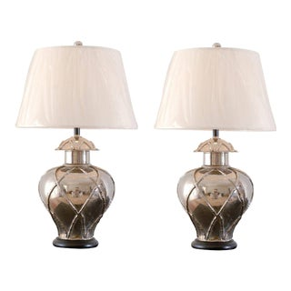 Pair of Vintage Faux Bamboo Ginger Jar Lamps For Sale