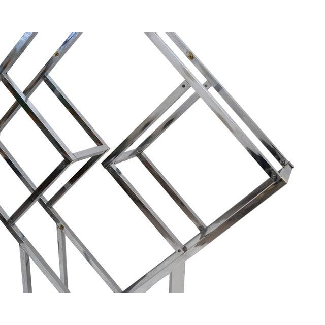 Metal 1970s Chrome Geometric Diamond Shaped Etagere For Sale - Image 7 of 9