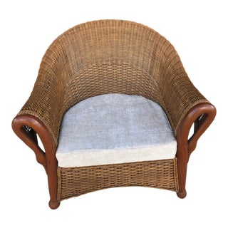 Antique Wicker and Bentwood Club Chair For Sale