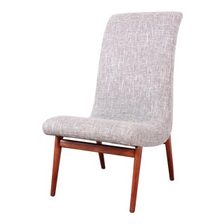 Norman Bel Geddes Mid-Century Modern Slipper Chair, Newly Reupholstered For Sale