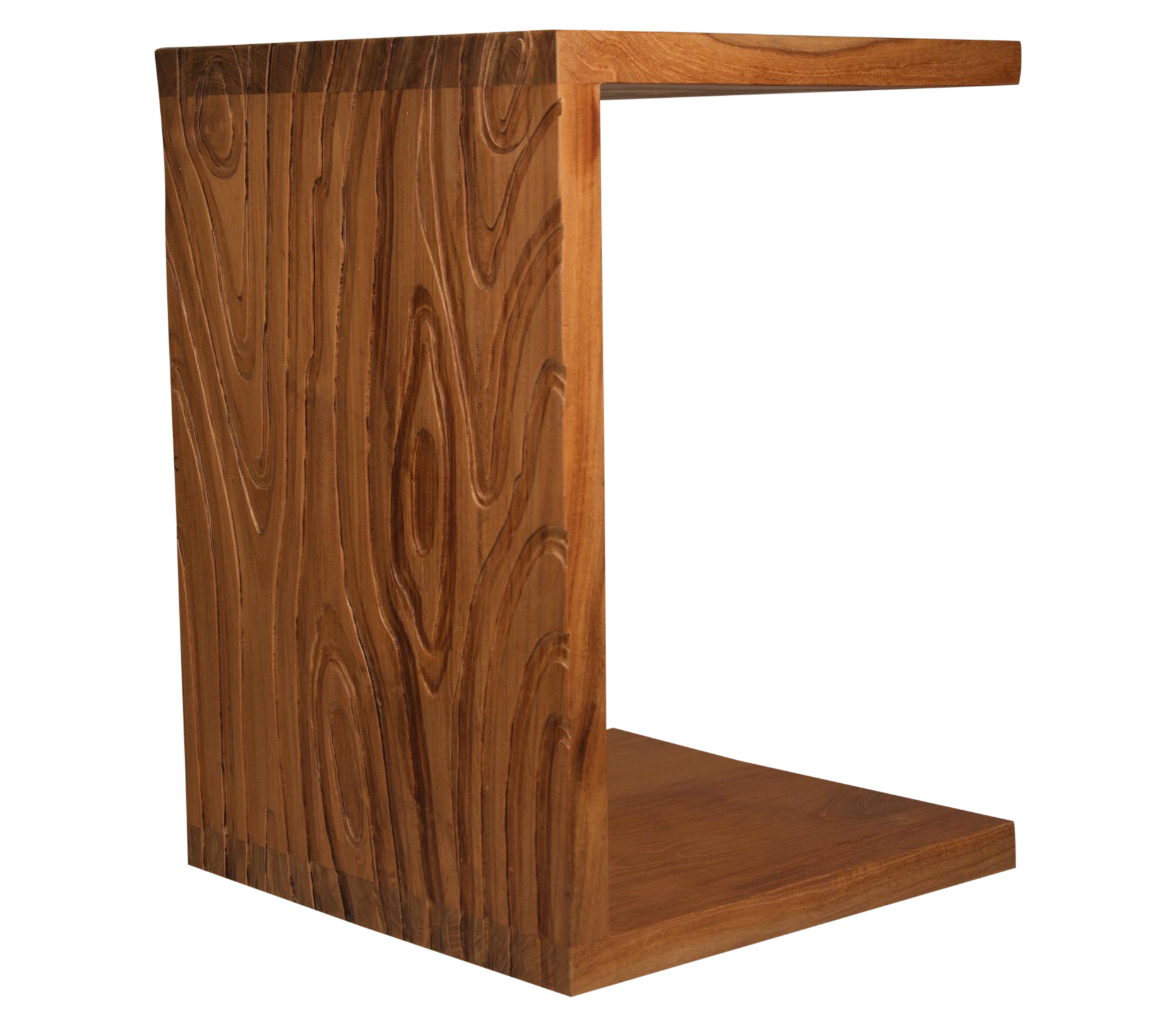 Delicieux Solid Textured Teak C Shaped Side Table   Image 1 Of 3