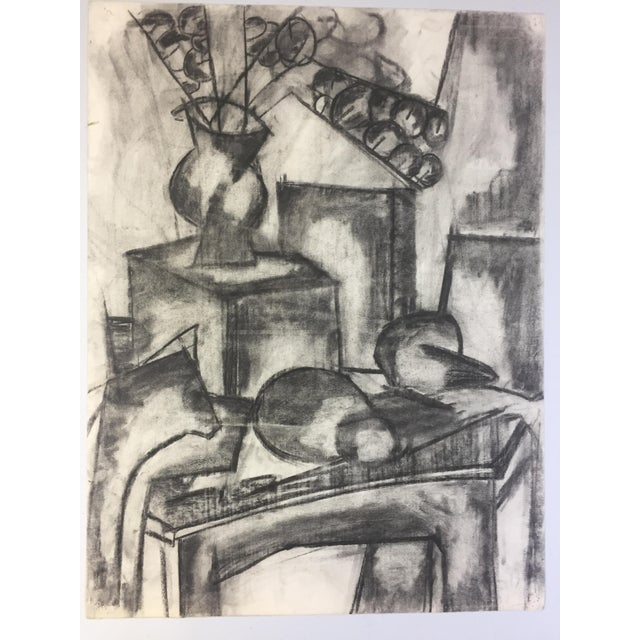 Charcoal 1950s Henry Woon Mid Century Charcoal Still Life For Sale - Image 7 of 7