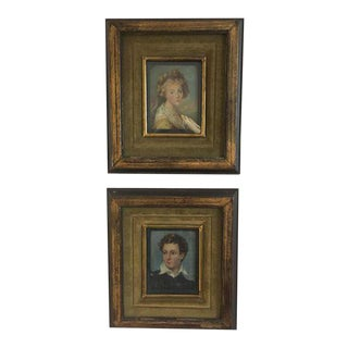 Pair of Miniature Portraits For Sale