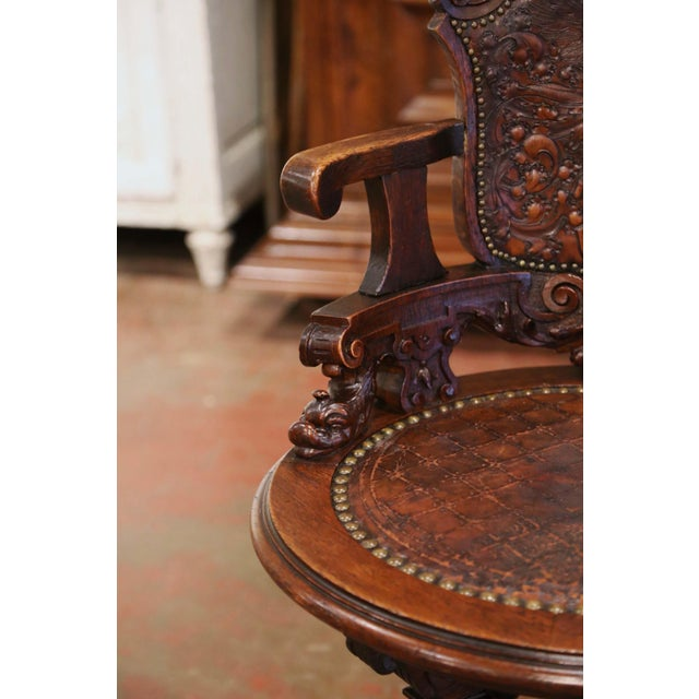19th Century English Carved Oak and Embossed Leather Lady's Desk Armchair For Sale In Dallas - Image 6 of 13