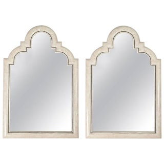 Pair of Moorish Tessellated Mirrors in Ivory Bone Color Marble Stone For Sale