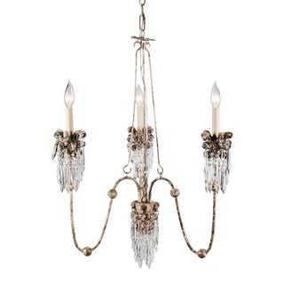 Flambeau's Venetian 3 Light Mini Chandelier, Distressed White and Bronze For Sale
