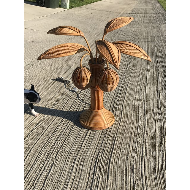 1970s Mario Lopez Torres Rattan Palm Tree Table Lamp For Sale - Image 5 of 7