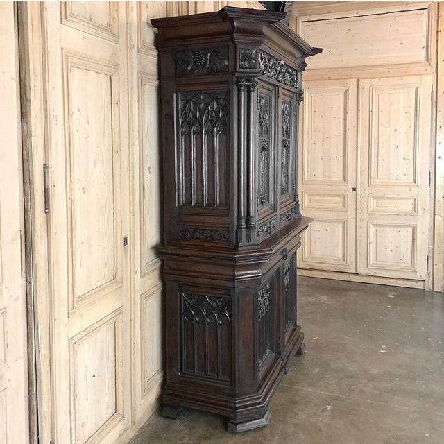 French 19th Century French Gothic Buffet a Deux Corps ~ Cabinet For Sale - Image 3 of 13