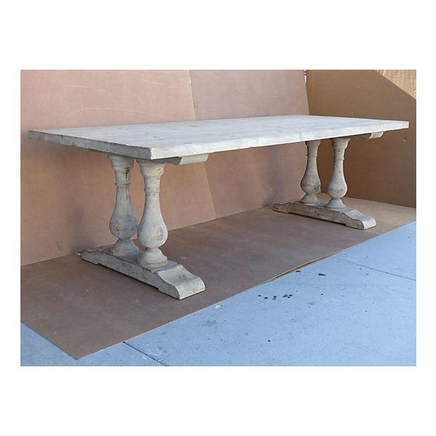 Neoclassical Library Table with Whitewash Finish - Image 2 of 10