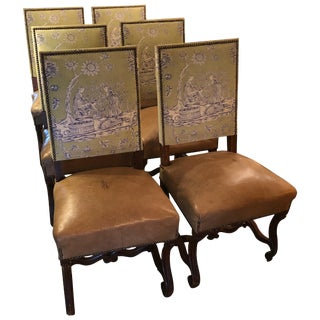 18th Century Vintage Louis XIV Style Dining Chairs With Leather & Toile For Sale