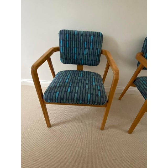 1950s Mid-Century Modern Walnut Upholstered Arm Chairs - a Pair For Sale - Image 4 of 13