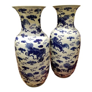 Chinese Blue & White Vases - a Pair