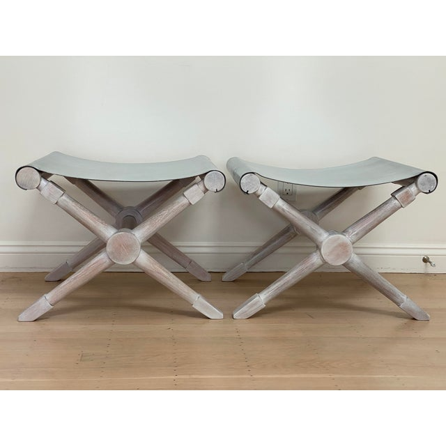 Mid-Century Modern Cerused Finish X-Bench - a Pair For Sale - Image 13 of 13